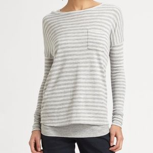 Vince Striped Boatneck Long Sleeve Small Gray